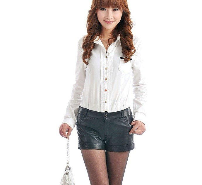 New Arrival  2012 new style lady's genuine lamb leather Shorts  Spring pants free shipping FS123310330