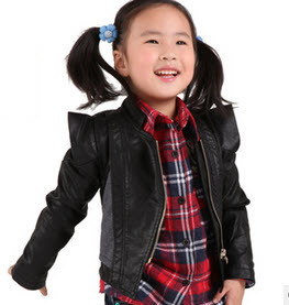 New arrival 2013 spring Brand baby girl's coat PU jacket outerwear children's fashion motorcycle blazer black coffee 90-130cm