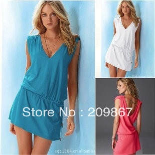 New arrival [BD001] Brand new women's solid color bikini dress, holiday beachwear casual dress skirt cover-ups free shipping