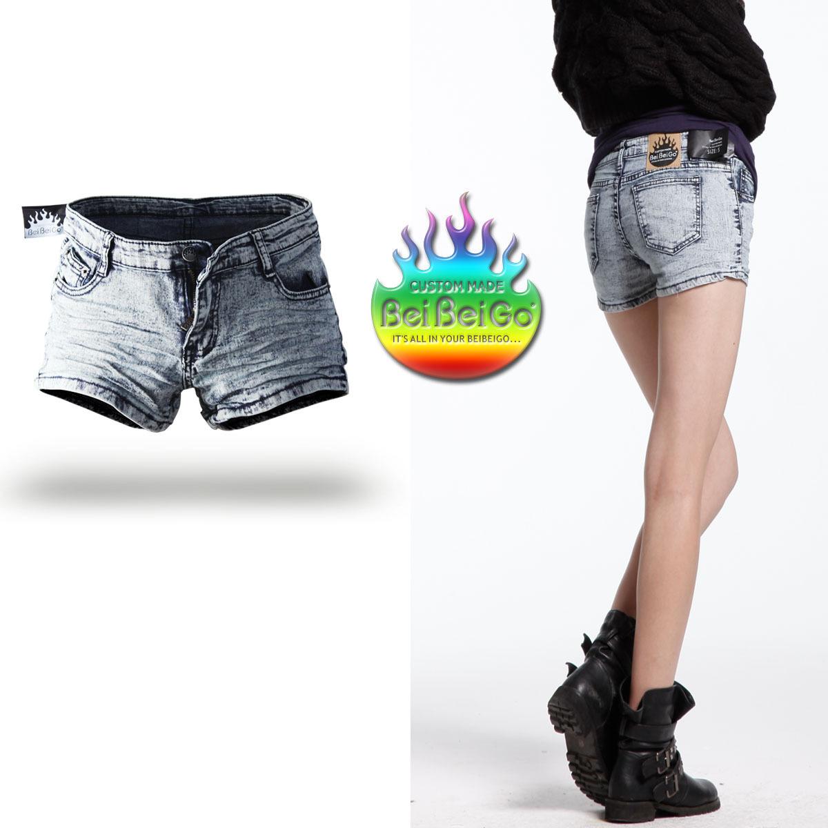 New Arrival Beibeigo 2012 bag pp pleated vintage white elastic slim denim shorts free shipping wholesale