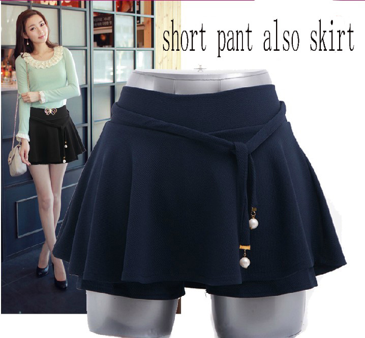 New Arrival Designer Summer Skirt Shorts Pleated Solid Color Plus size Mini Skirts free shipping