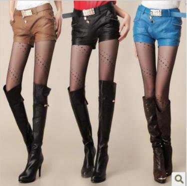 New arrival Free shipping Wholesale Korean 2012 new arrival fashion PU leather shorts women pants with belt