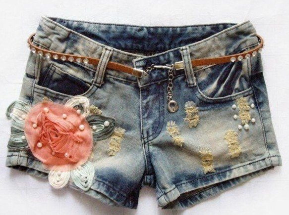 New arrival Korean design women summer floral ornament denim shorts ladies slim short pant jeans free shipping