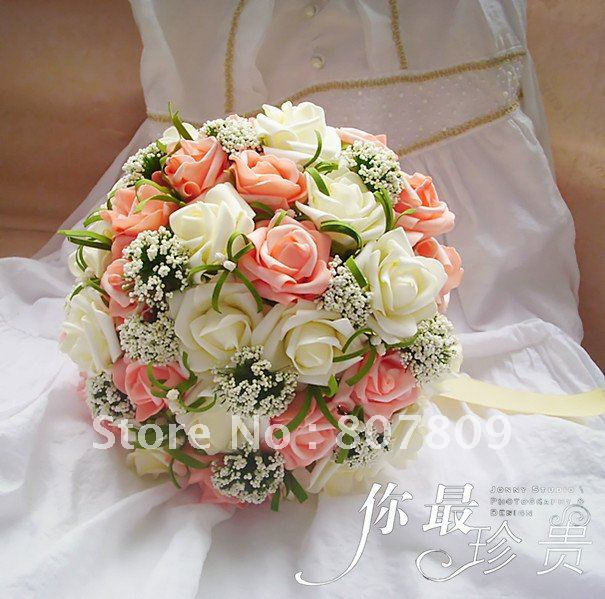 New arrival Pink & white rose  fake bouquet/  artificial bouquet for wedding free shipping