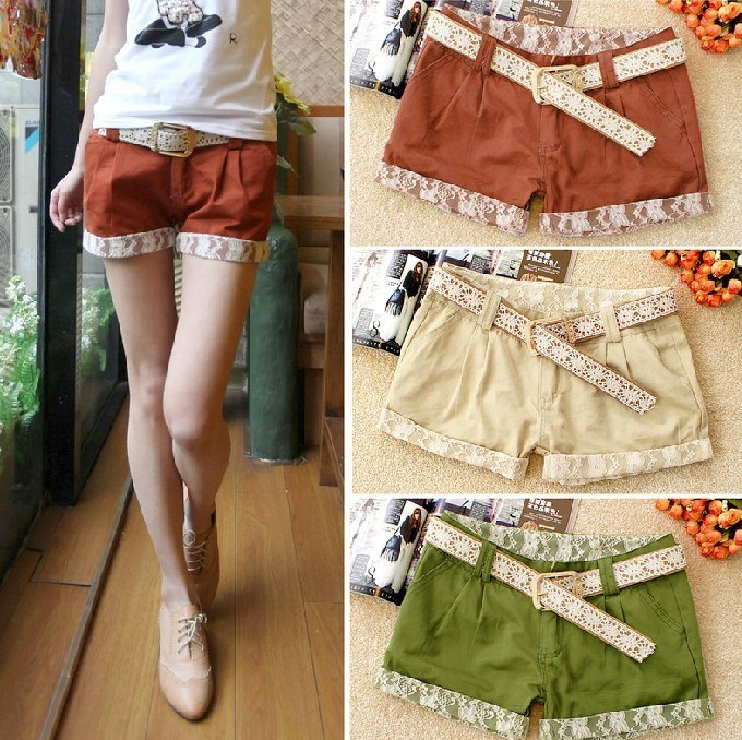 New arrival summer 2012 fashion all-match multicolour 100% cotton popular lace low-waist shorts with belt