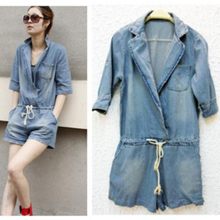 New arrival summer hot collar demin jumpsuits women graceful rompers jeans cotton 100% quality guaranteed free shipping T0075
