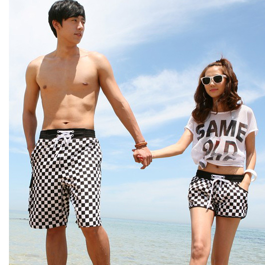 New arrival White and black Plaid shorts men beach pants Sport Couple swimwear shorts women shorts 2013 fashion Free shipping
