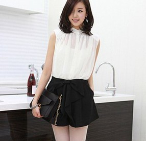 New Arrival  wind gentlewomen women's bow skirt shorts culottes set free shipping