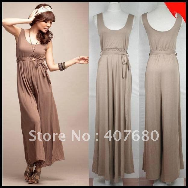 new arrival women's fashion empire waist jumper skirt one piece dress loose wide leg cotton boot cut