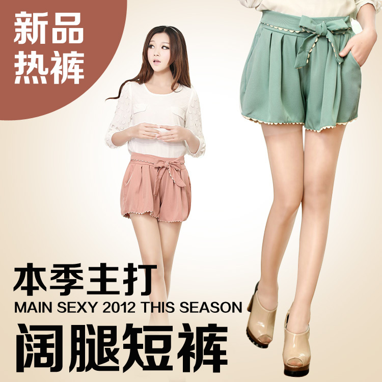 New arrival women's high waist elastic loose bow laciness chiffon shorts loose