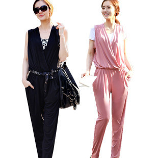 New arrive Summer jumpsuits casual women's  V-neck harem pants gracufeul jumpsuits fashion rompers Free shipping T0007