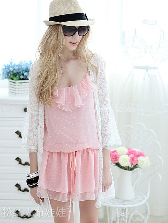 new arrived 2012 summer pink chiffon straps piece culottes women Jumpsuit