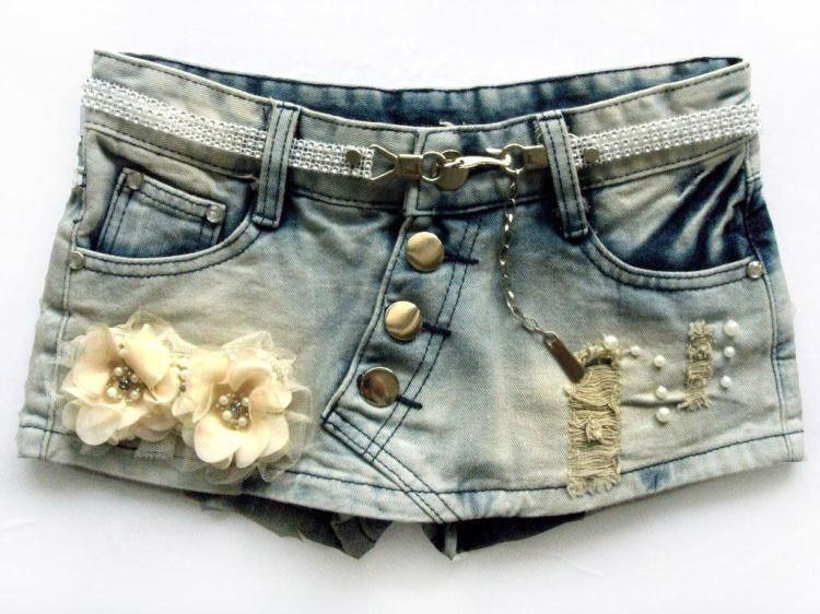 New Autumn Flowers Beading Ornament Denim Shorts Korean Style Buttum Shorts Skirts WF13010709