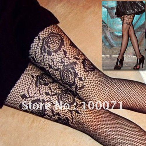 New Black Pantyhose Pattern Floral Lace Rose Fishnet Tights Stockings  [22726|01|01]