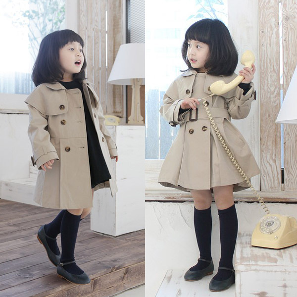 New Cute Kids Girls Autumn Casual Outerwear Double Breasted Trench Coat 5 Sizes
