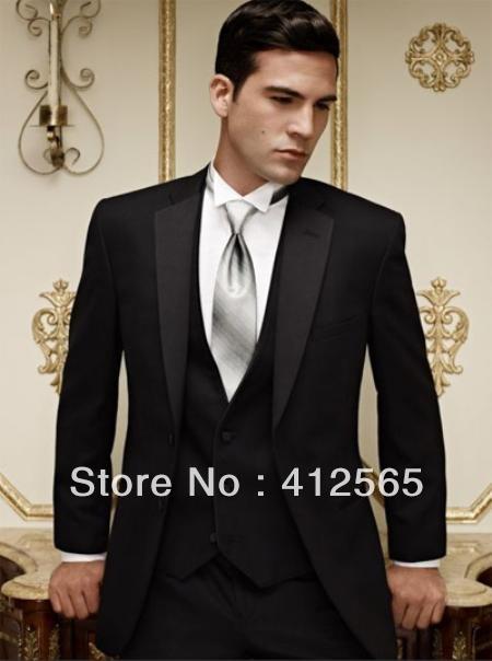 New Design Black Tuxedo Wedding Suits Pictures for Men (jacket+waistcoat+trouser)