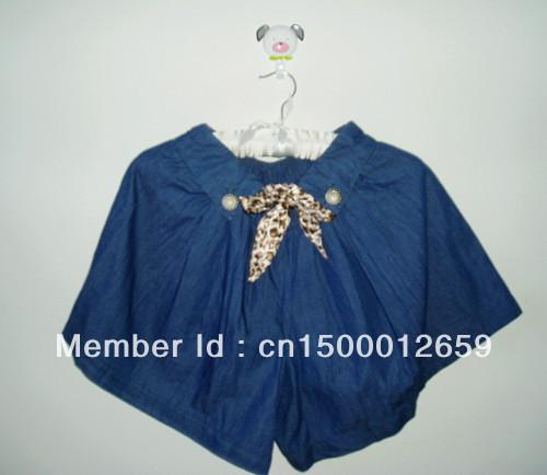 New fashion  2013 denim culotte shorts with belt  elastic waist   preppy chic  summer