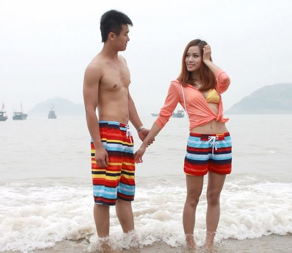 NEW  Fashion  Couple Orange-red color Beach Shorts Lovers Short Pants Women/Men Swim trunks  In  Stock  .