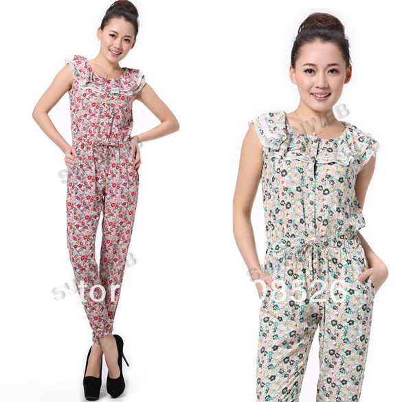 New Fashion Elegant Women's Romper Button Flower Sleeveless Romper Jumpsuit S M L Free shipping 11228