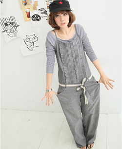 New fashion faux denim bib overalls steampunk neutral yuppie gray jumpsuit for women Free shipping jr06