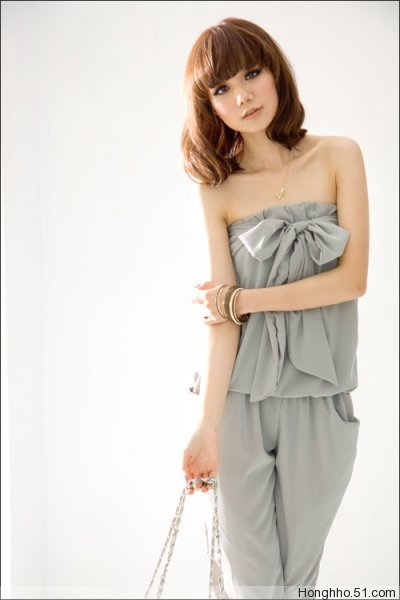 New Fashion Korea Womens casual bowknot Jumpsuits Rompers Suit Pant BK071