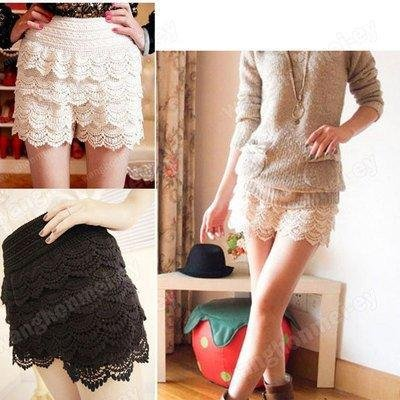 New Fashion Lace Tiered Short Skirt Under Safety Pants Shorts