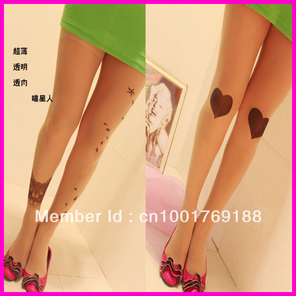 new fashion sexy cat heart tattoo pattern transparent pantyhose stockings tights legging free shipping