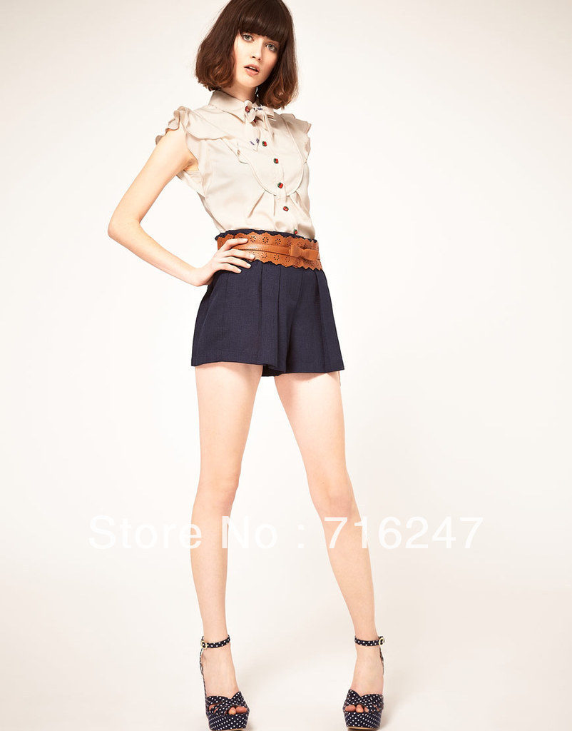 New  Fashion  Style  Short  Shorts  For  Women  2013  College Style  Bowknot  Belt  Leisure Shorts