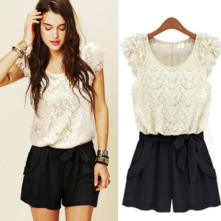 new fashion women europe-american slim style o-neck lace patchwork jumpsuit 1GD-016