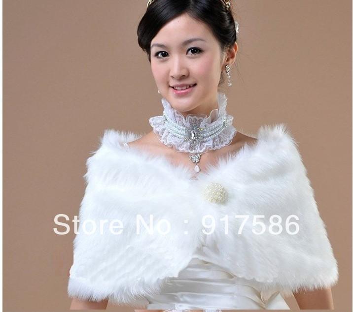 new fashion women ladies bridal wedding dress Artificial faux fur shawl cape Pearl button wrap