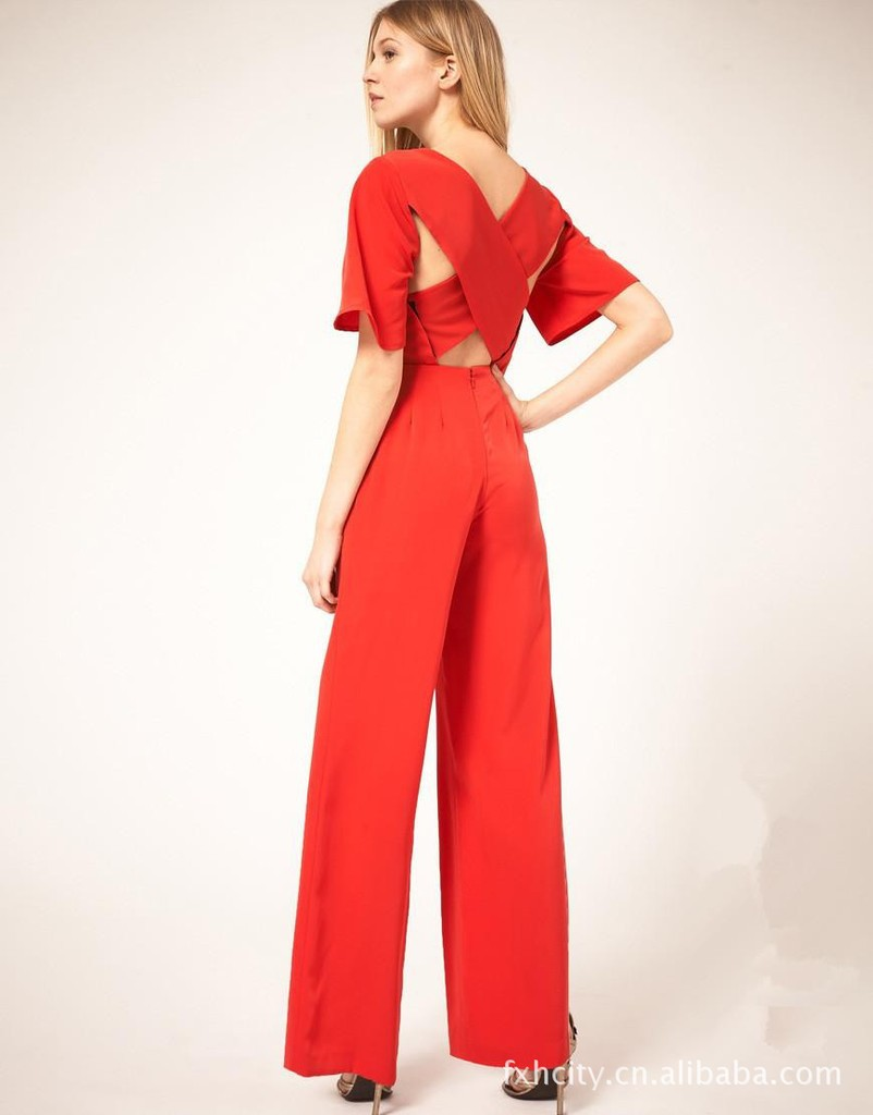 new fashion women's ladies' sexy cross solid color loose jumpsuit S M L Free Shipping