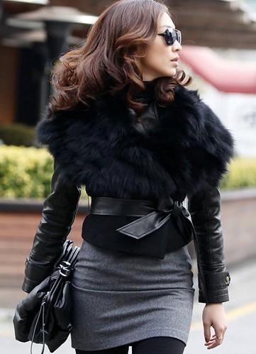 New Fashion women's sleeveless faux Fur vest leather belt short vest ,free shipping X25