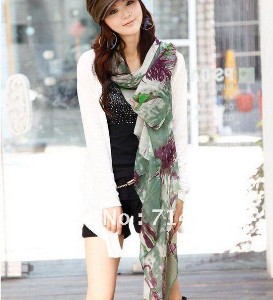 New Fashion Women's soft series Begonia flower chiffon Shawl Scarf
