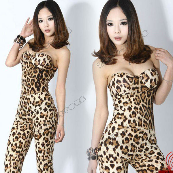 New Fashion Womens Backless Sexy Clubwear Party Skinny Wrapped Chest Leopard Ladies Jumpsuit Romper Size S Free Shipping 0016