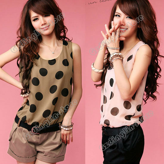 New Fashion Womens Ladies Sleeveless Crew Neck Big Dots Polka Casual Short Romper Jumpsuit Coffee Pink Size S Free Shipping 0546