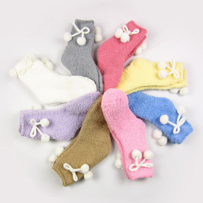 New Feona cute hair balls at home floor socks soft plush women's socks chromophous (B271)