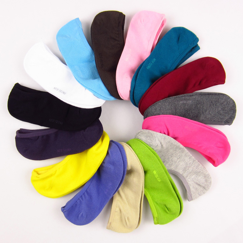 New Feona new arrival solid color women's invisible  beautiful shallow mouth combed cotton sock slippers( 24 109)