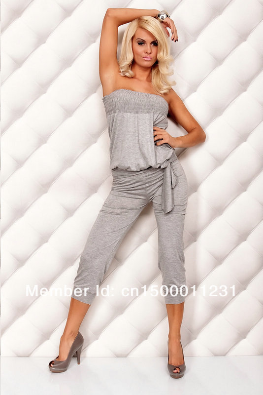 New Free Shipping ML17555 Sexy Gray Blouse Catsuit Fashion Overalls Women