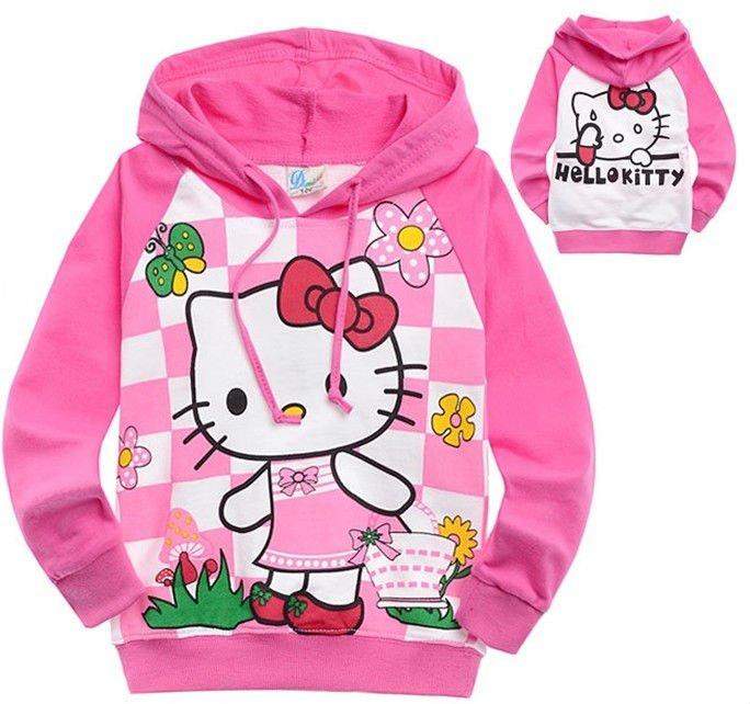 NEW Free shpping Wholesale hoodies sweatshirts(6pcs/1lot)girls t-shirt 100% cotton sweatshirt hello kitty hoodies H89D6045