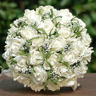New  handmake 25cm white roses fake /  artificial bouquet for wedding with gift  free shipping