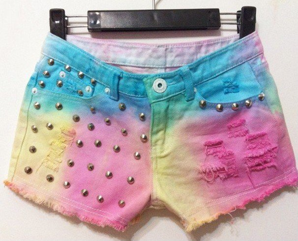 New Harajuku fashion denim shorts fluorescence gradients jeans shorts tie dye technic rivets adorn free shipping 655