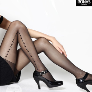 New Heart Print Tights Pattern Stockings Printed Pantyhose Suspender tights Fashion Black Free Shipping