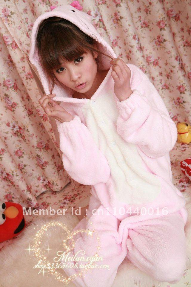 New Hello Kitty Kigurumi Pajamas Costume Animal Cosplay Japan Anime