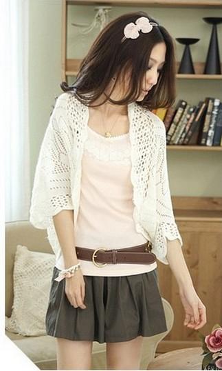 New Hot Fashion Korea Design Women Hollow Sweater Shawl Shrug Jacket Lady Casual Sweet Knitwear Cardigan