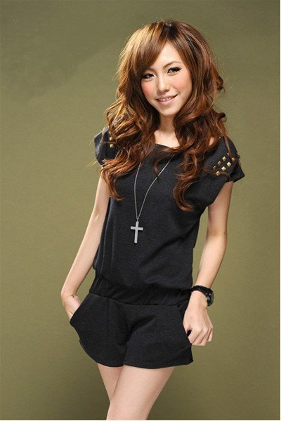NEW, hot selling unique fashion rivet COTTON ladies jumpsuits