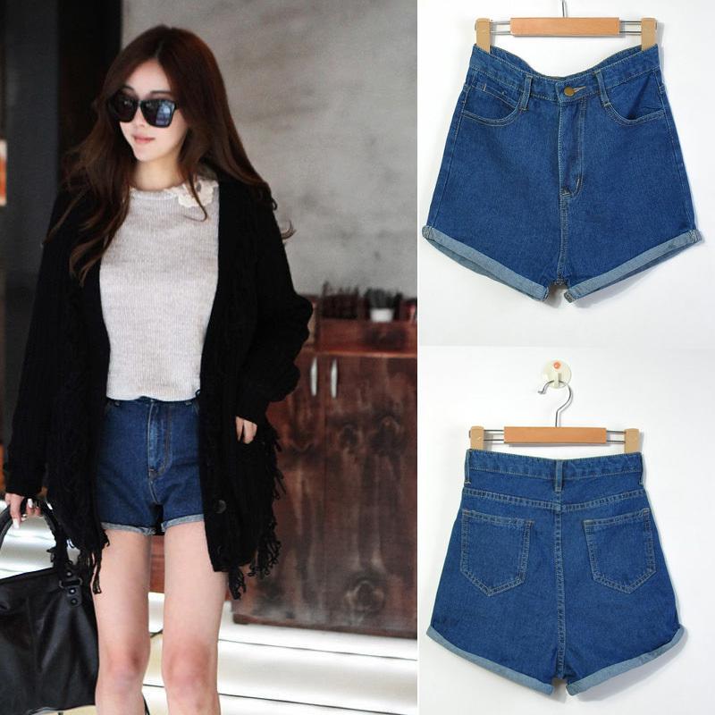 New Hot selling Vintage High Waist Denim Roll-up Hem Denim Shorts Summer Fashion Lady's Hot Pants