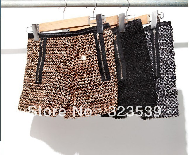New Korea design lady sexy&club shining short pants women sequins zipper BLNGBLING shorts Free Shipping