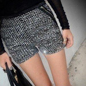 New Korea design lady sexy&club shining short pants women sequins zipper BLNGBLING shorts Free Shipping