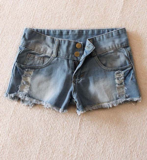 New Korea Short Pants For Women Tassel Hole And Two Buttons Decoration Jeans WF13010403