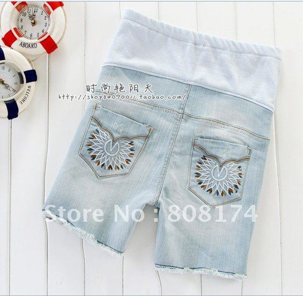 New Korean Maternity Pants summer denim shorts and summer maternity worn prop abdominal women Jeans